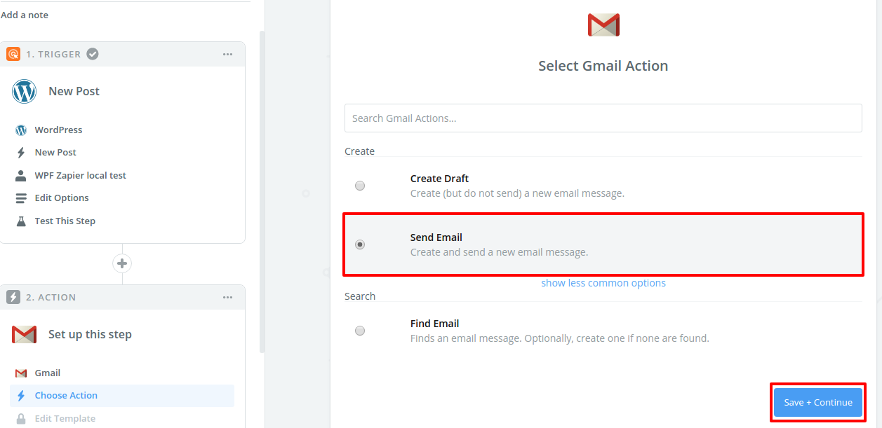 Step 10 Select Gmail action