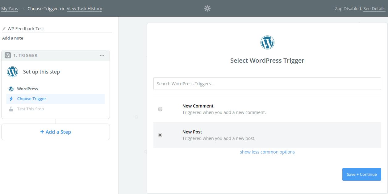 Step 3 Select wordpress trigger