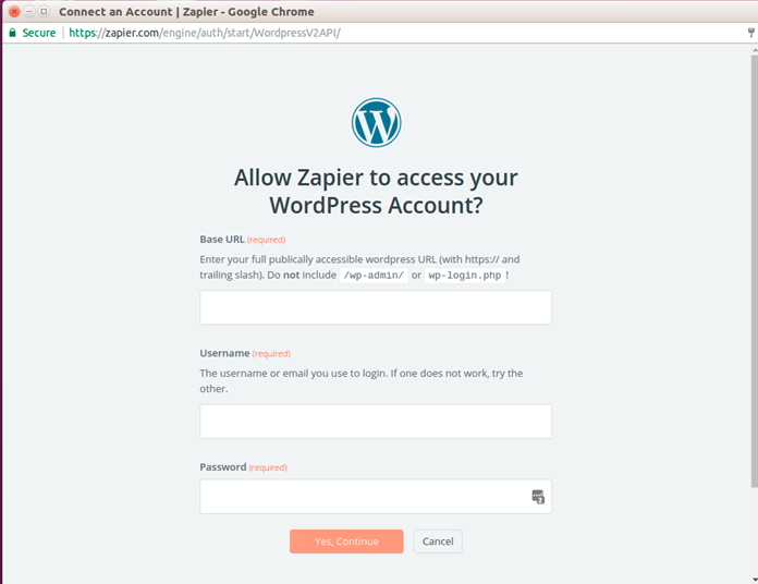 Step 5 Add wordpress link and credentials