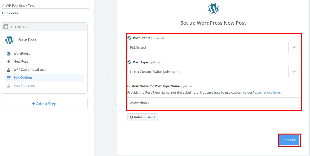 Step 8 Set up WordPress New Post