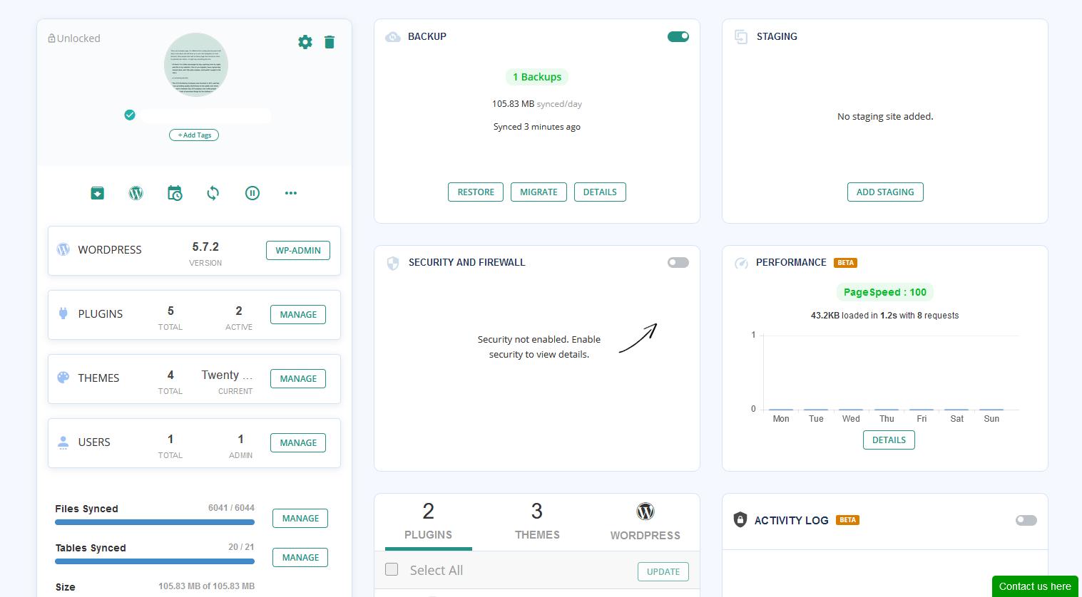 BlogVault dashboard