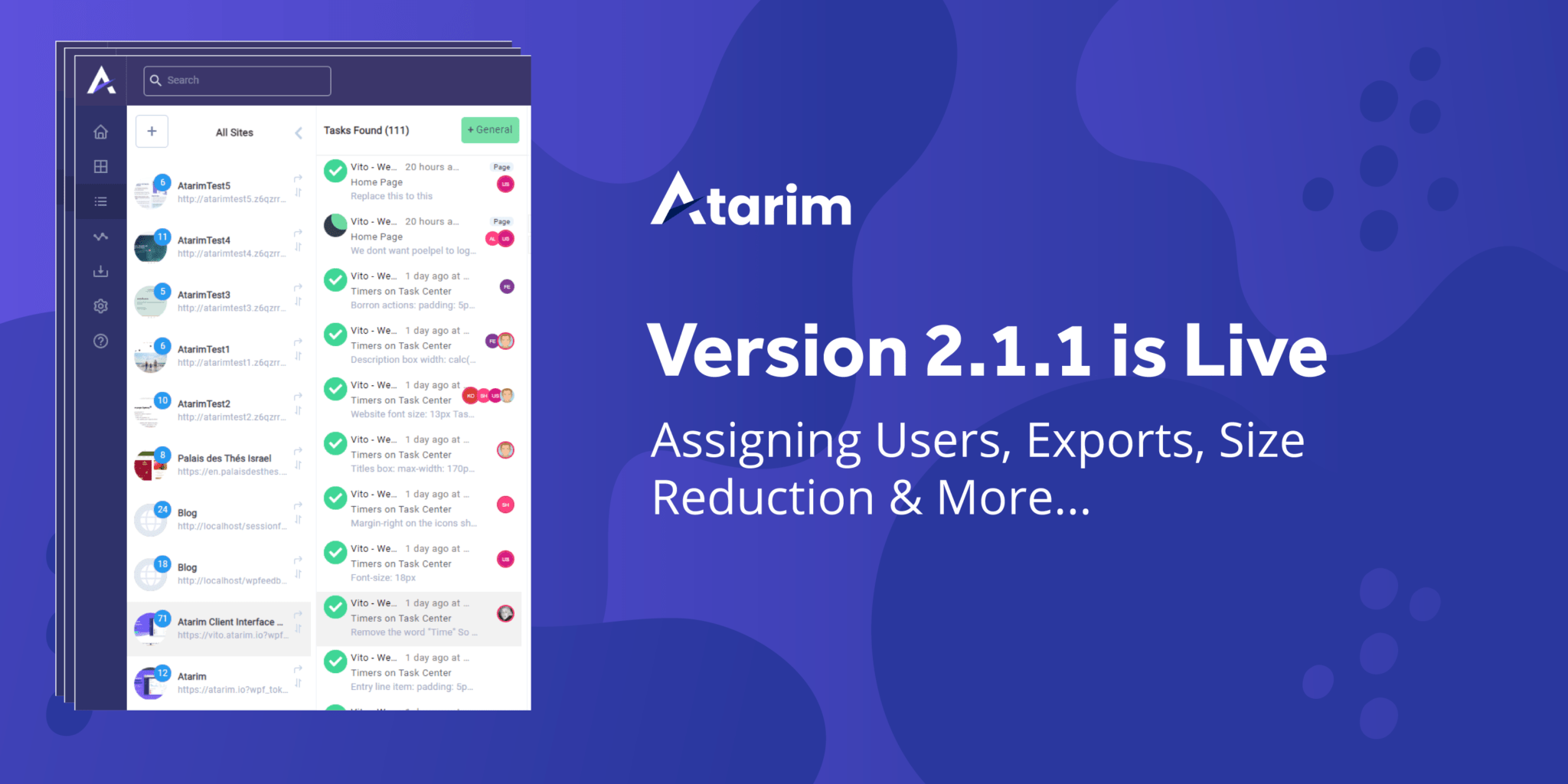 Ver 2.1.1 - Assigning Users, Exports, Size Reduction & More... 2