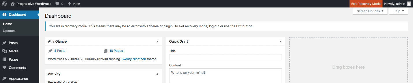 recovery mode dashboard to fix the wordpress white screen of death
